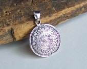 Mayan Calendar Pendant, Aztec Pendant, Silver Pendant, Base Metal Pendant, Columbian, Jewelry Supplies, Etsy, Etsy Jewelry, Etsy Supplies