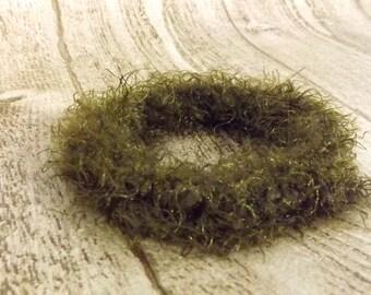 Woodland Forest Bracelet Fiber Crochet Bangle Olive Green