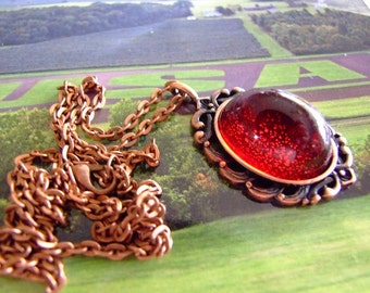 Steam punk Gothic High Dome German  red glass pendent  mystical pendant on copper chain, cabochon pendant, sparkle,, bohemian, gypsy