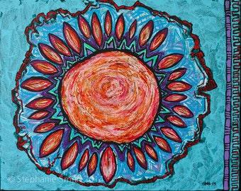 Original Mandala Visionary Spiritual Art Painting: Rose Garden