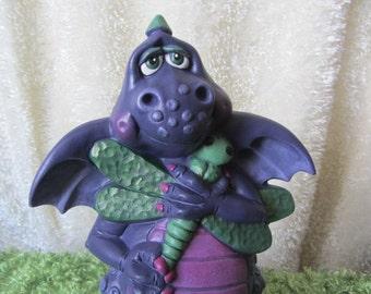 Dragon Statue - Dragonfly - Garden Decor - Mystical Dragon - Yard Art - Purple Dragon - Dragon Decor - Christmas in July Sale