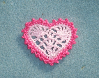 6 handmade pink cotton thread crochet applique hearts --  1836