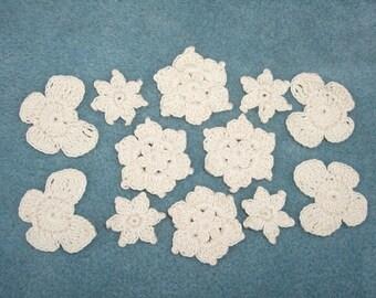 cream crochet applique flowers and butterflies --  62
