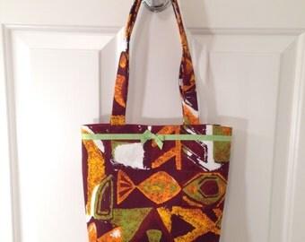 SMALL TOTE BAG Retro 60s Hawaiian Tiki Vintage Fabric Purse Handbag