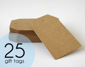 25 Brown Kraft Gift Tags - Luggage Tags - 4 x 7cm