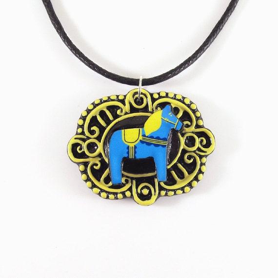 Blue and Yellow Swedish Dala Horse Cameo Pendant and Black Cord Necklace - Original Scandinavian Illustration - Minimal Polymer Clay Design