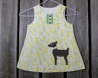 Baby dress in size 18 months (yellow floral with deer) Deer applique, Eco wear, made from vintage reclaimed materials, baby deer dress