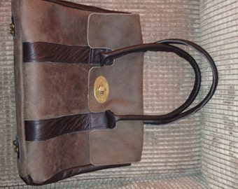 Large chocolate brown suede and leather satchel