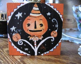 Halloween Jack-o-Lantern Pumpkin Wood Block