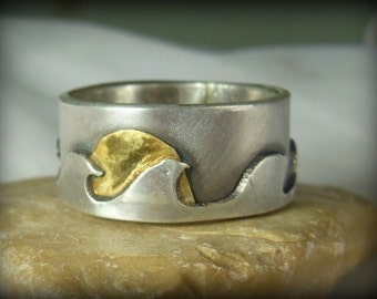 wave silver and yellow gold wedding band, Mens Ring, unisex jewelry,  surfer jewelry, Wedding Band