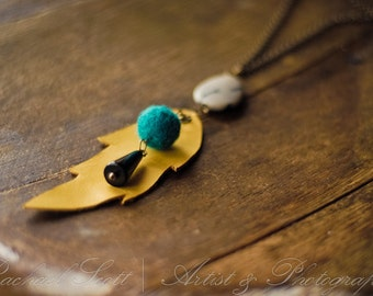 Tan Leather Feather Necklace on Brass