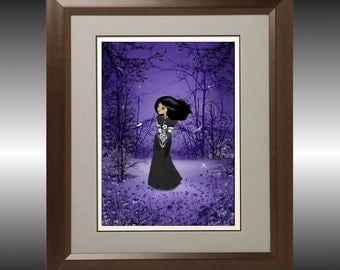 Dark Melancholy Girl Digital Painting Art Print ---  Lost in Thought -- 8x10 - Woodland - Dragonflies
