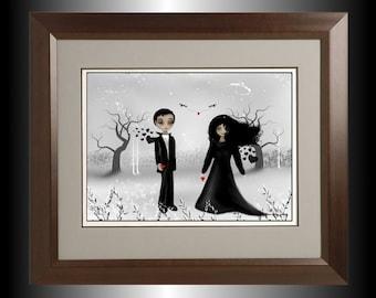 Dark Gothic Romance Digital Art Painting - Winter Scene - Goth Couple - Hearts --  February