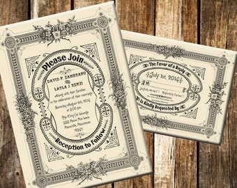 Hazel - Printable DIY Vintage Victorian Typography Wedding Invitation Suite - Customized Wedding Invitation