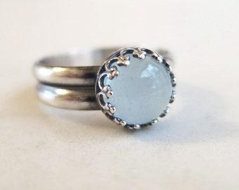 Aquamarine ring, Sterling Silver, Seafoam color, gemstone ring, March birthstone