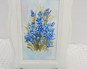 Texas Blue Bonnets, Hand Painted Original Design on Canvas Fabric, Framed with Easel, Home Decor, Gift, Collectible, CSSTeam, ECS