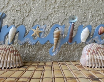 IMAGINE Blue Wood Sign with Starfish, Seashells, OOAK