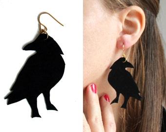Raven Leather Earrings