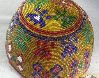 Vintage Beaded Hat, Afghanistan, Kuchi Helmet Item E31