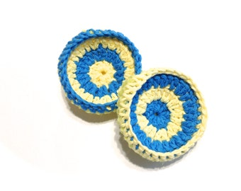 Yellow And Hot Blue Crocheted Cotton And Nylon Netting Dish Scrubbies- Pair