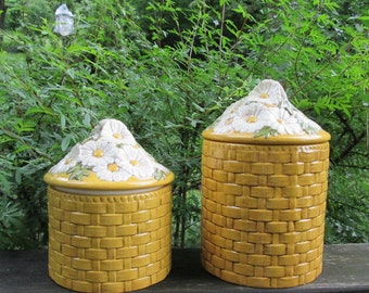 Vintage Ceramic Canisters - Gold Basket Weave With Daisies