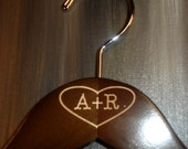 Engraved Bridal Hangers Initials Inside Heart No Wire Personalized Wedding Photo Props