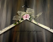 Wedding Dress Hangers Shabby Chic Ivory Crackled Paint Hand Painted Roses Bride Hangers No Wire Wedding Photo Prop