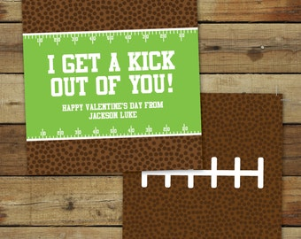 Printable football Valentine's Day Card - I get a kick out of you sports valentine - classroom valentine - instant download - editable pdf