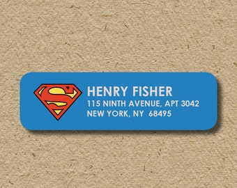 Superman return address labels, super hero return address label, self-adhesive address sticker, superman sticker