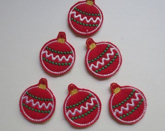 Red Christmas Ornament Felt Embroidered Embellishment Appliques - 423