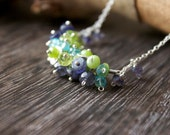 Spring Green Gemstone Necklace, Peridot and Iolite Chocker, Cluster necklace,Petit Jewelry, Gemstone cluster, Blue Green, Spring