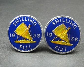 Fiji coin cufflinks 23mm 1957 1958