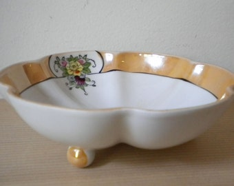 Vintage Noritake M footed and fluted bowl with lustreware border and floral details