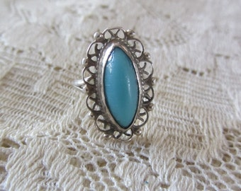 Vintage Handmade Mexican Silver Ring w/Pretty Blue Oval Stone and Fancy Filigree Work 1960's