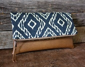 Blue and Ivory Strie Ikat Foldover Clutch / Kindle Case