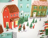 Vintage Christmas Gift Wrap - Vintage Christmas Wrapping Paper - Holiday - Christmas Village in Snow