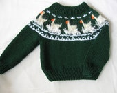 Forest Green and Pale Yellow Handknit Yoke/Ski Sweater with Ducks