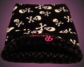 Dog Bed - Cat Cave - THE BONE COLLECTOR - Velour Minky Snuggle Sack - Includes Embroidered Personalization
