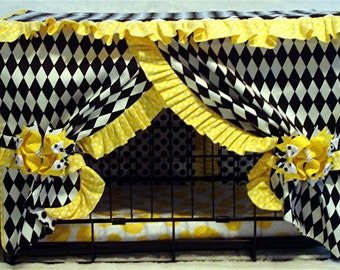 Dog Crate Cover - Ruffles and Bows Crate Cover and Pad -  Customized Crate Cover and Bed for your Pet