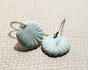 Small Porcelain Earrings, Seashell Earrings, Handmade Jewelry,