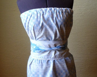pillowcase shirt, blue white shirt, handmade shirt, Handmade Tie Belt, Unique Clothing, Recycled Pillowcase, Hippie Boho, Spring Summer,cool