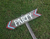 Chevron Party Sign. Kids Party Sign, Birthday Party, Chevron Decorations, Directional Arrow Sign. Road Signs, Street Sign. Teal Blue Party