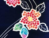 Vintage Japanese yukata cotton Rainbow Hydrangeas on indigo navy blue