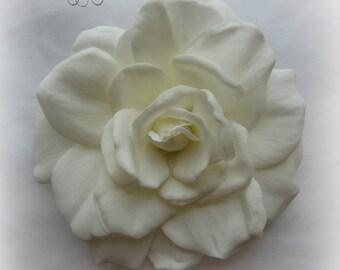 Real Touch White Gardenia Hair Flower Clip