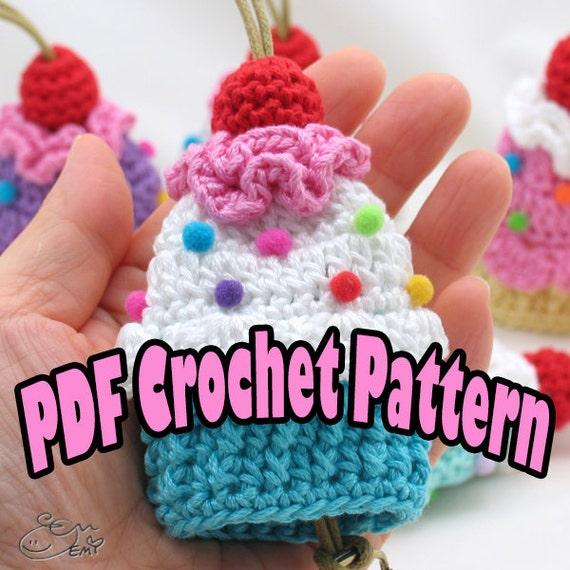 Amigurumi Cupcake Keychain : PDF Amigurumi / Crochet Pattern Cupcake Key Cozy CP-14 ...