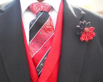 Red and Black Swarovski crystal tie