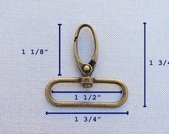 FREE SHIPPING--40 Anti Brass Swivel Clasps Hooks with 1 1/2 inch loop end