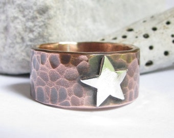 Forged Mixed Metal Ring, Copper And Sterling Silver Star Ring, Mixed Metal Rustic Jewelry Unisex Copper Ring - Copper Jewelry - Star Jewelry