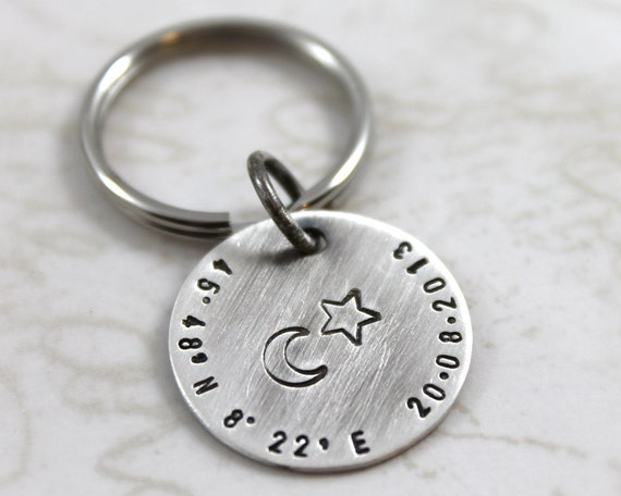 Silver Wedding Anniversary Present For Husband : Personalized Keychain for Husband, Anniversary Gift with Latitude ...