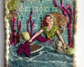 Mermaid Vintage Beauty Original altered art wall hanging